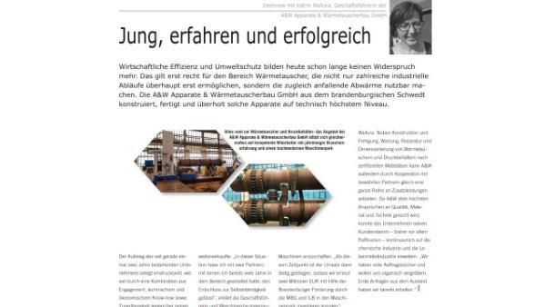 A W Portrait In Der Zeitschrift Wirtschaftsforum A W